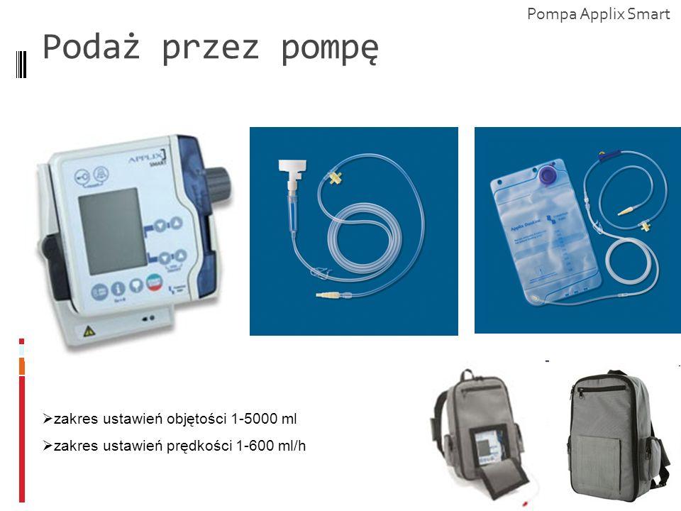 Podaż przez pompę zakres ustawień objętości 1-5000 ml zakres ustawień prędkości 1-600 ml/h Pompa Applix Smart