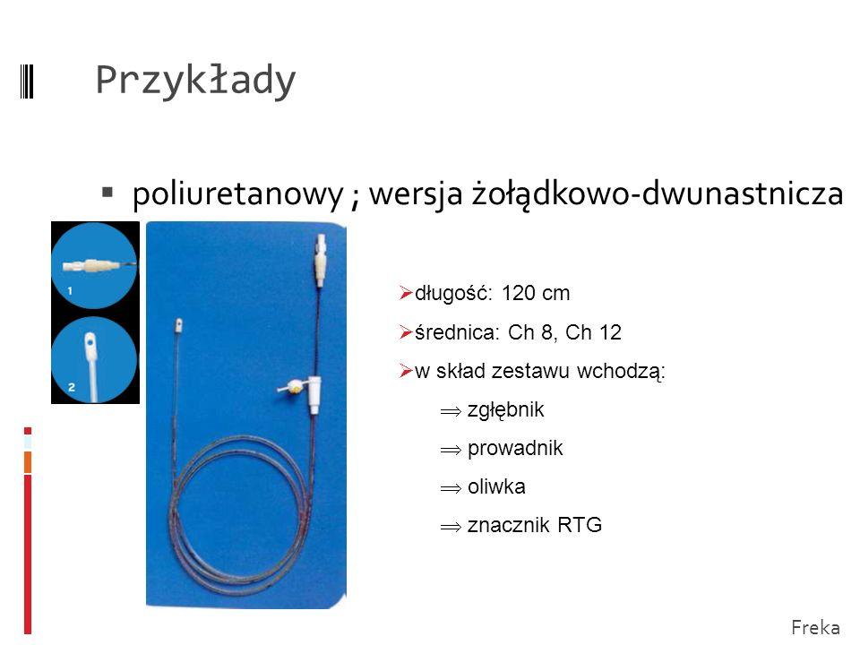 Przykłady poliuretanowy; wersja żołądkowo-dwunastnicza długość: 120 cm średnica: Ch 8, Ch 12 w skład zestawu wchodzą: zgłębnik prowadnik oliwka znaczn