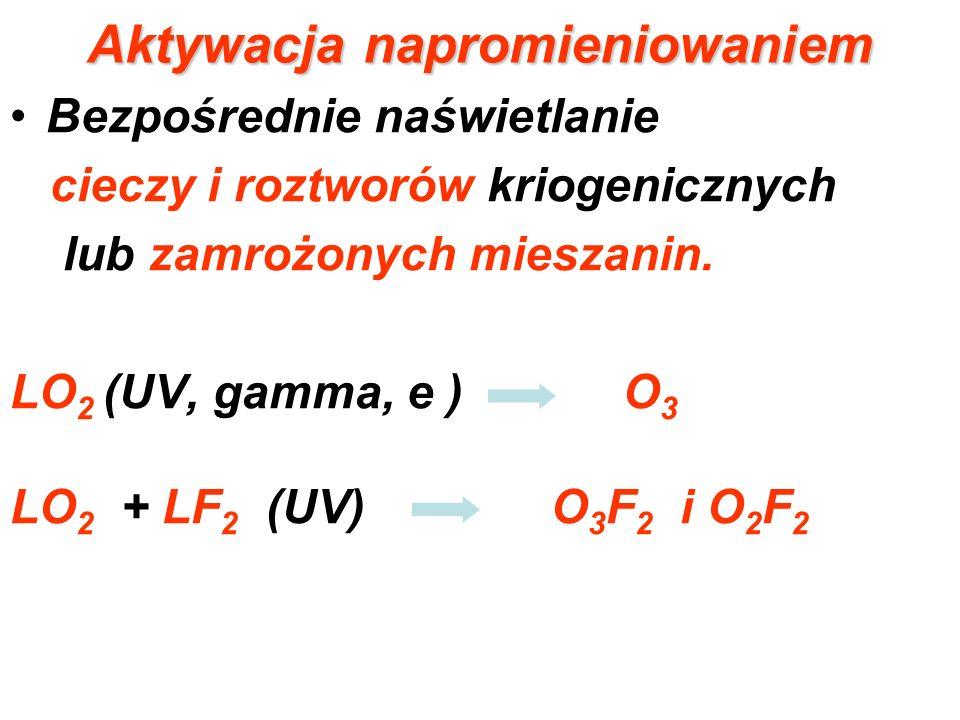 Aktywacja napromieniowaniem Bezpośrednie naświetlanie cieczy i roztworów kriogenicznych lub zamrożonych mieszanin. LO 2 (UV, gamma, e ) O 3 LO 2 + LF