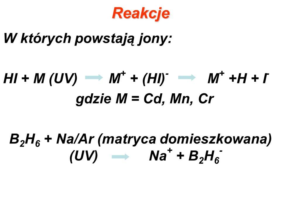 Reakcje W których powstają jony: HI + M (UV) M + + (HI) - M + +H + I - gdzie M = Cd, Mn, Cr B 2 H 6 + Na/Ar (matryca domieszkowana) (UV) Na + + B 2 H