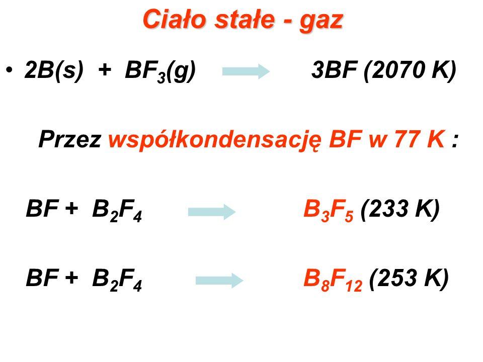 Ciało stałe - gaz 2B(s) + BF 3 (g) 3BF (2070 K) Przez współkondensację BF w 77 K : BF + B 2 F 4 B 3 F 5 (233 K) BF + B 2 F 4 B 8 F 12 (253 K)