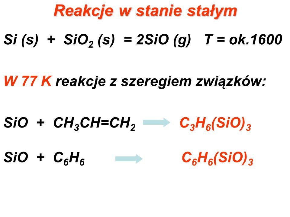 Reakcje w stanie stałym Si (s) + SiO 2 (s) = 2SiO (g) T = ok.1600 W 77 K reakcje z szeregiem związków: SiO + CH 3 CH=CH 2 C 3 H 6 (SiO) 3 SiO + C 6 H