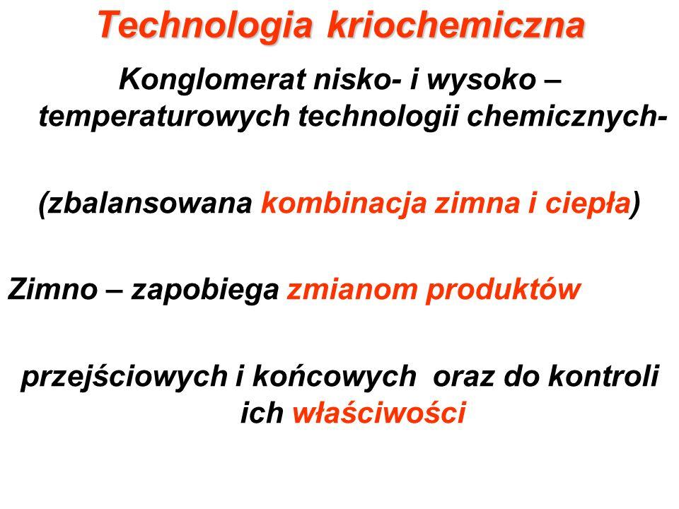 Technologia kriochemiczna Posługuje się nietradycyjnymi metodami: Kriokrystalizacja Kriostrącanie Krioekstrakcja Krionasycanie Kriomielenie (kriorozdrabnianie) Kriodesykacja (suszenie sublimacyjne)