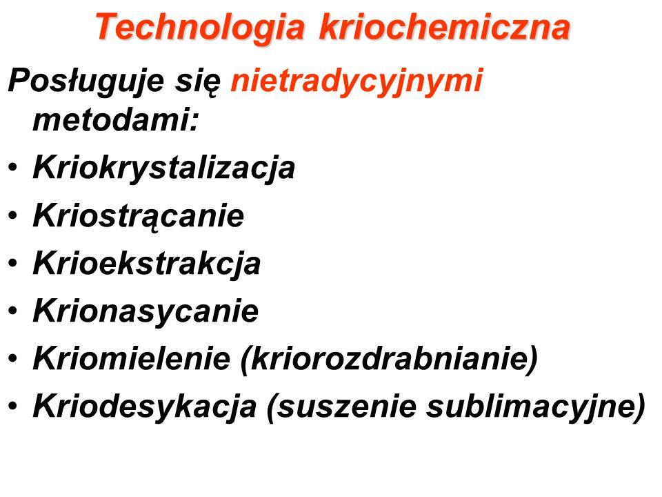 Schemat technologii kriogenicznej Sporządzenie roztworów --------- Dyspergowanie roztworów ------------------ Kriokrystalizacja Krioekstrakcja Suszenie sublimacyjne - -Krionasycanie Kriostrącanie Dehydratacja soli--------------- Termiczny rozkład Kriorozdrabnianie Prasowanie, spiekanie obróbka cieplna itp.