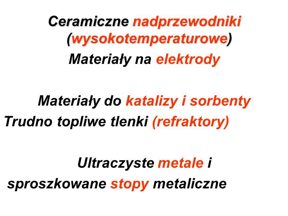 Ceramiczne nadprzewodniki (wysokotemperaturowe) Materiały na elektrody Materiały do katalizy i sorbenty Trudno topliwe tlenki (refraktory) Ultraczyste