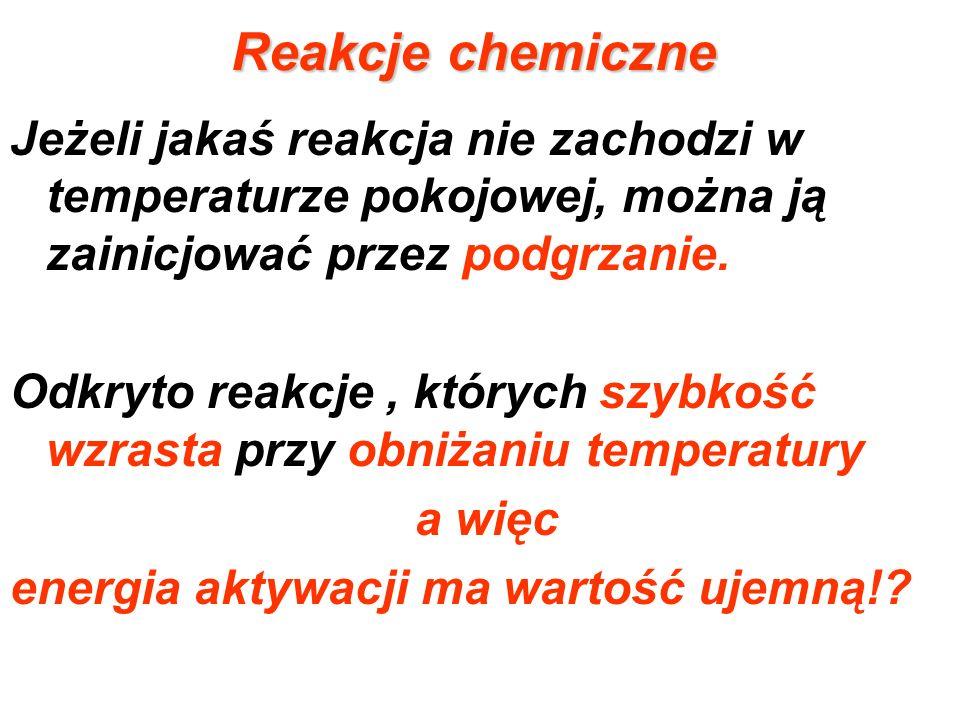 Reakcje chemiczne Jeżeli jakaś reakcja nie zachodzi w temperaturze pokojowej, można ją zainicjować przez podgrzanie. Odkryto reakcje, których szybkość