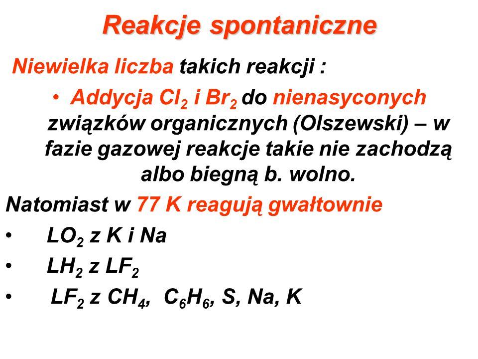 Reakcje spontaniczne Niewielka liczba takich reakcji : Addycja Cl 2 i Br 2 do nienasyconych związków organicznych (Olszewski) – w fazie gazowej reakcj