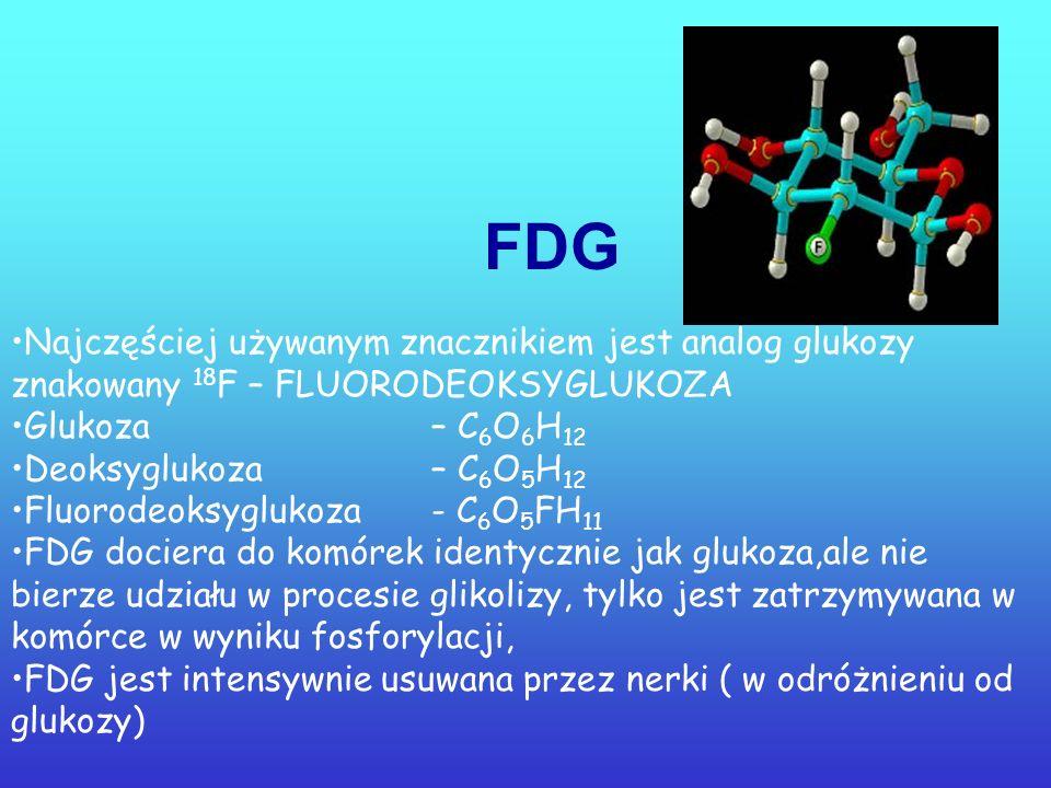 Znacznik- 18 F T 1/2 = 110 min. Zasięg = 1,4 mm Fluor – 18 stosowany jest najczęściej w produkcji radiofarmaceutyków dla PET. Podobnie jak 99m Tc w di