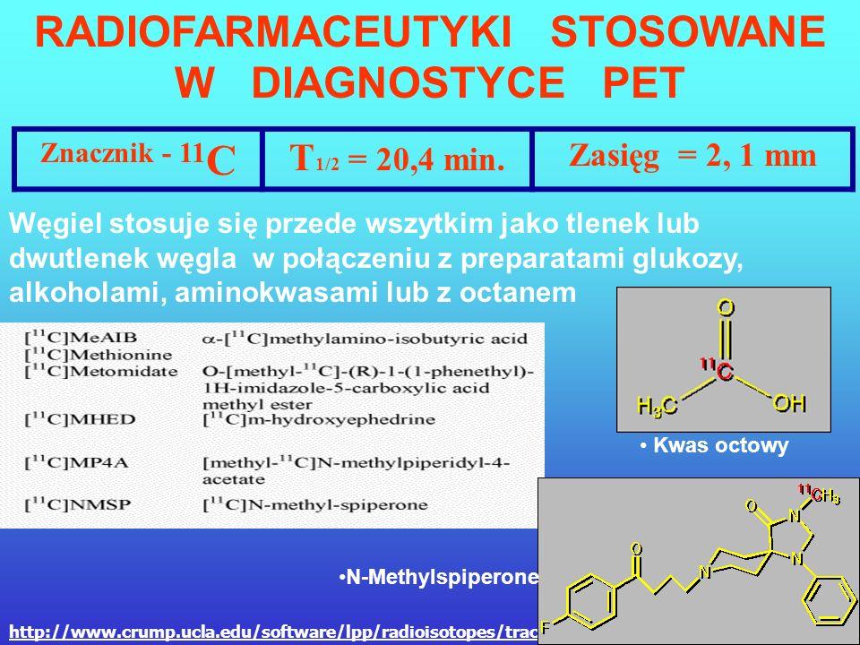 FDG Najczęściej używanym znacznikiem jest analog glukozy znakowany 18 F – FLUORODEOKSYGLUKOZA Glukoza – C 6 O 6 H 12 Deoksyglukoza – C 6 O 5 H 12 Fluo
