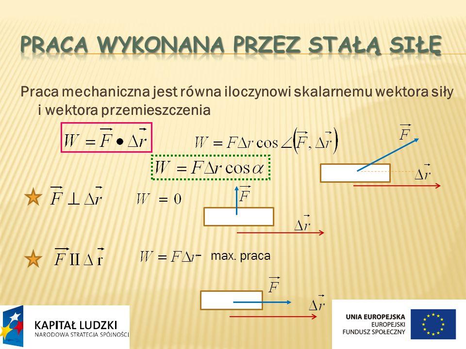 Praca mechaniczna jest równa iloczynowi skalarnemu wektora siły i wektora przemieszczenia - max. praca