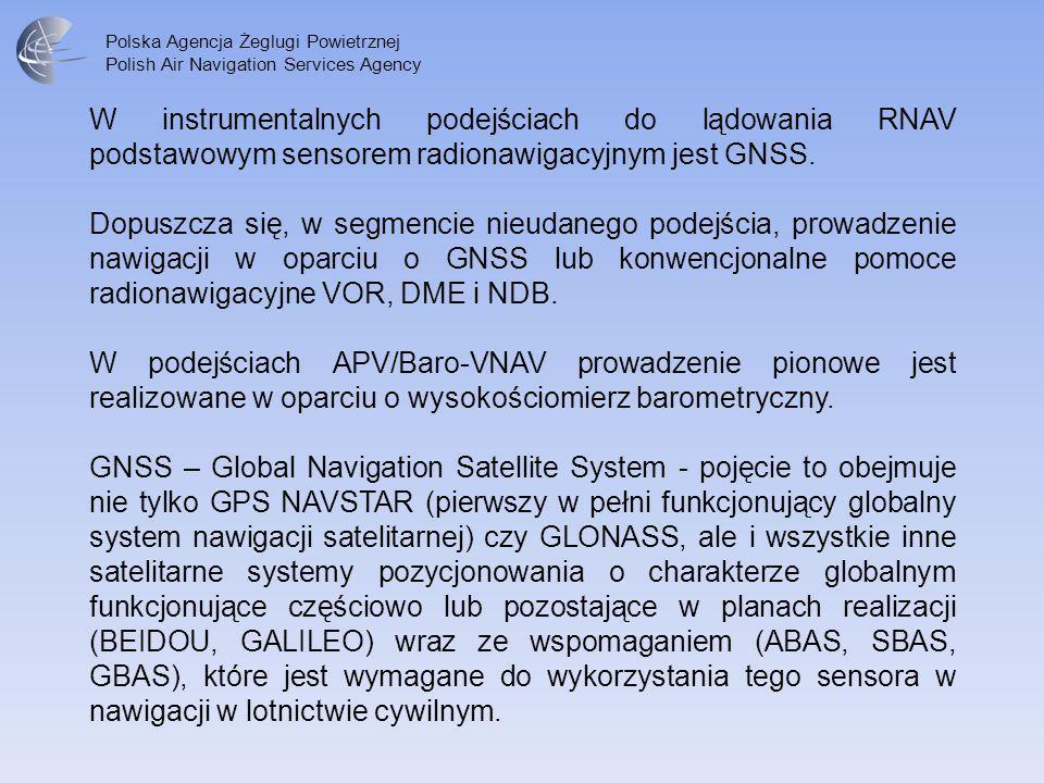 Polska Agencja Żeglugi Powietrznej Polish Air Navigation Services Agency W instrumentalnych podejściach do lądowania RNAV podstawowym sensorem radiona