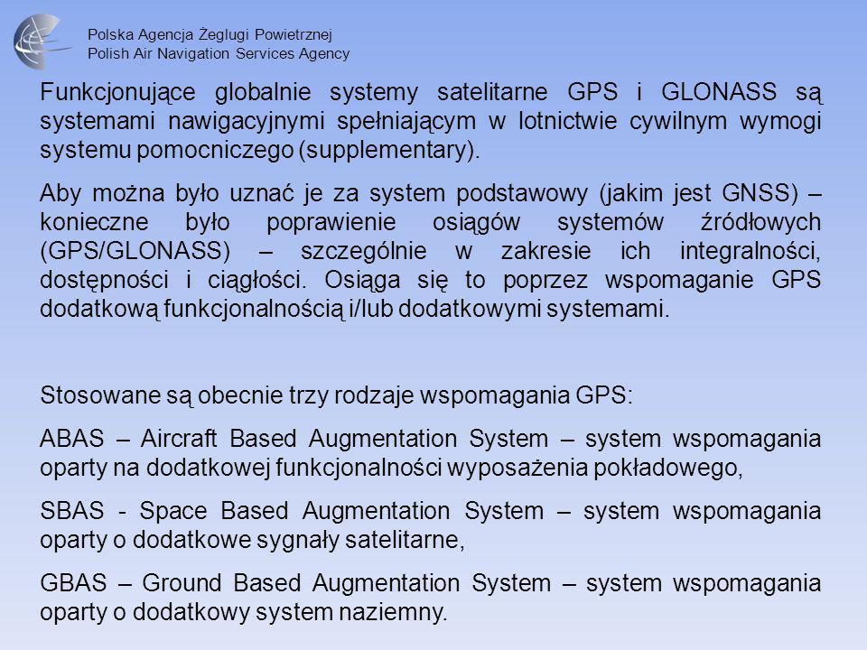 Polska Agencja Żeglugi Powietrznej Polish Air Navigation Services Agency Funkcjonujące globalnie systemy satelitarne GPS i GLONASS są systemami nawiga