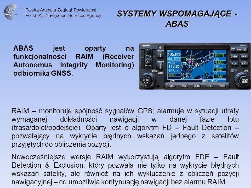 Polska Agencja Żeglugi Powietrznej Polish Air Navigation Services Agency SYSTEMY WSPOMAGAJĄCE - ABAS ABAS jest oparty na funkcjonalności RAIM (Receive