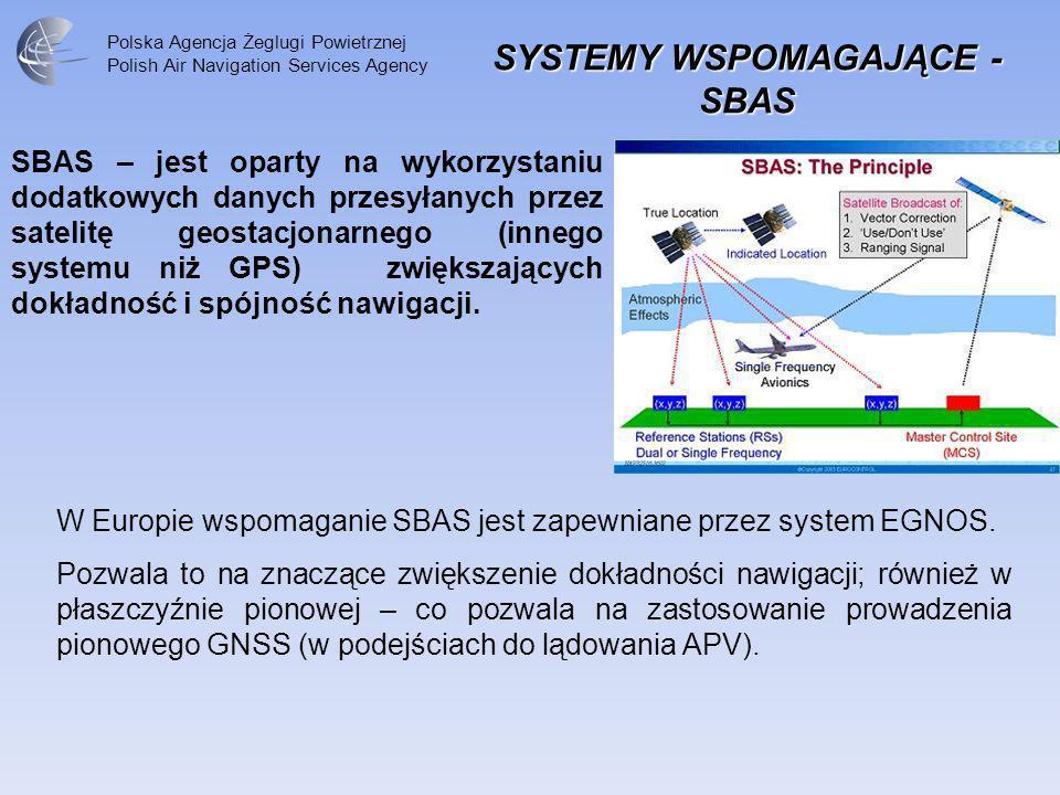 Polska Agencja Żeglugi Powietrznej Polish Air Navigation Services Agency SBAS – jest oparty na wykorzystaniu dodatkowych danych przesyłanych przez sat