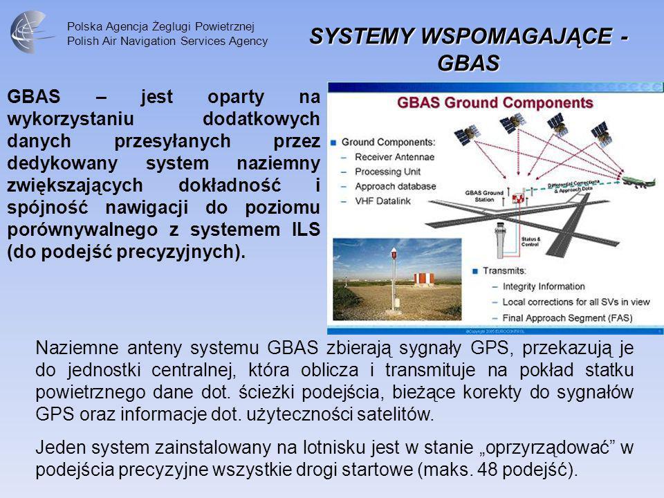 Polska Agencja Żeglugi Powietrznej Polish Air Navigation Services Agency GBAS – jest oparty na wykorzystaniu dodatkowych danych przesyłanych przez ded