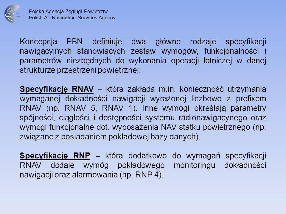 Polska Agencja Żeglugi Powietrznej Polish Air Navigation Services Agency Koncepcja PBN definiuje dwa główne rodzaje specyfikacji nawigacyjnych stanowi