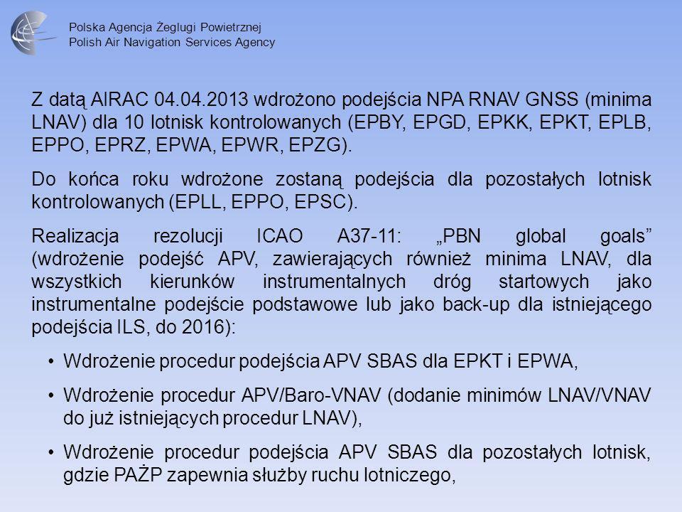 Polska Agencja Żeglugi Powietrznej Polish Air Navigation Services Agency Z datą AIRAC 04.04.2013 wdrożono podejścia NPA RNAV GNSS (minima LNAV) dla 10