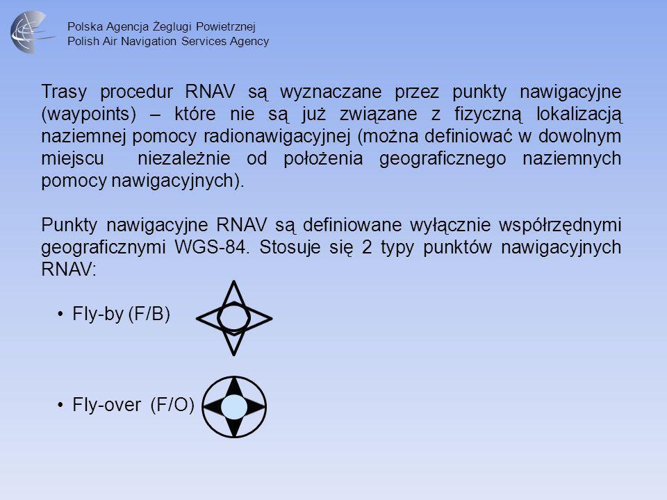 Polska Agencja Żeglugi Powietrznej Polish Air Navigation Services Agency Trasy procedur RNAV są wyznaczane przez punkty nawigacyjne (waypoints) – któr