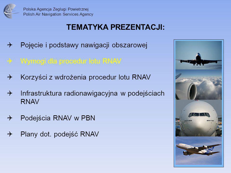 Polska Agencja Żeglugi Powietrznej Polish Air Navigation Services Agency W zakresie instrumentalnych podejść do lądowania RNAV koncepcja PBN określa trzy specyfikacje nawigacyjne: RNP APCH – RNP approach, RNP AR APCH – RNP Approval Required approach A RNP – Advanced RNP approach Instrumentalne podejścia do lądowania zgodne z PBN mogą być wykonywane wyłącznie przy spełnieniu wymogów specyfikacji nawigacyjnej RNP co oznacza konieczność posiadania na pokładzie statku powietrznego monitoringu dokładności nawigacji i alarmowania w przypadku utraty wymaganej dokładności nawigacji w danej fazie lotu.