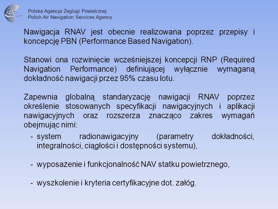 Polska Agencja Żeglugi Powietrznej Polish Air Navigation Services Agency W zakresie podejść do lądowania i specyfikacji nawigacyjnej RNP APCH określone zostały 4 typy / rodzaje procedur charakteryzujące się 4 typami minimów: 1.NPA GNSS (ABAS) – podejście nieprecyzyjne z prowadzeniem GNSS wspomaganym ABAS wyłącznie 2D (poziomym) – minima LNAV.