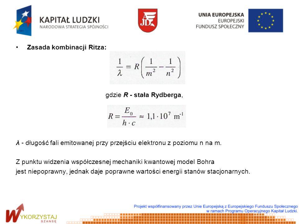 Zasada kombinacji Ritza: gdzie R - stała Rydberga, λ - długość fali emitowanej przy przejściu elektronu z poziomu n na m. Z punktu widzenia współczesn