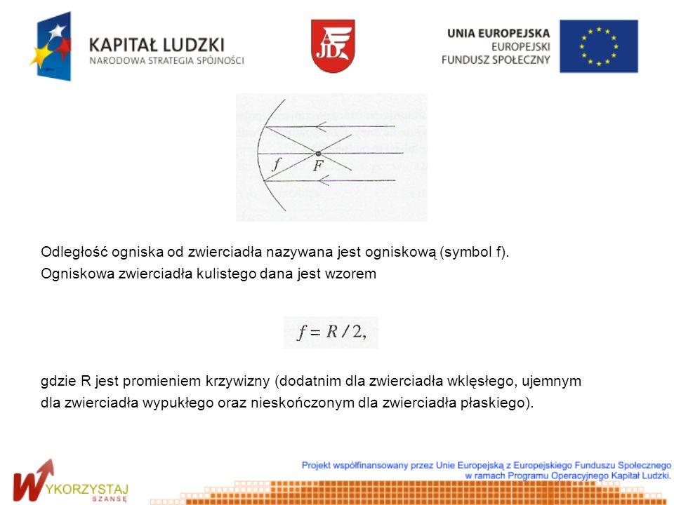Równanie zwierciadła ma postać: gdzie x i y są odpowiednio odległościami przedmiotu i obrazu od zwierciadła.