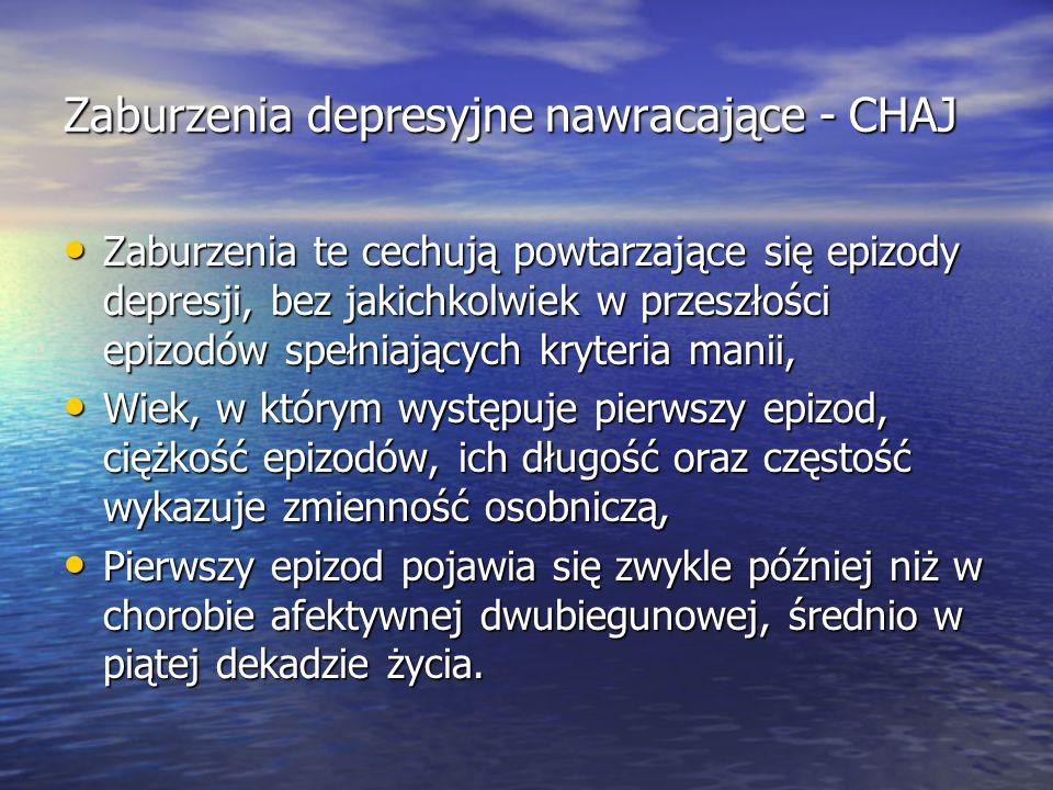 Zaburzenia depresyjne nawracające - CHAJ Zaburzenia te cechują powtarzające się epizody depresji, bez jakichkolwiek w przeszłości epizodów spełniający