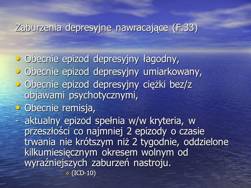 Zaburzenia depresyjne nawracające (F.33) Obecnie epizod depresyjny łagodny, Obecnie epizod depresyjny łagodny, Obecnie epizod depresyjny umiarkowany, Obecnie epizod depresyjny umiarkowany, Obecnie epizod depresyjny ciężki bez/z objawami psychotycznymi, Obecnie epizod depresyjny ciężki bez/z objawami psychotycznymi, Obecnie remisja, Obecnie remisja, - aktualny epizod spełnia w/w kryteria, w przeszłości co najmniej 2 epizody o czasie trwania nie krótszym niż 2 tygodnie, oddzielone kilkumiesięcznym okresem wolnym od wyraźniejszych zaburzeń nastroju.