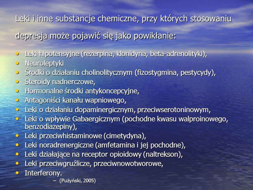 Leki i inne substancje chemiczne, przy których stosowaniu depresja może pojawić się jako powikłanie: Leki hipotensyjne (rezerpina, klonidyna, beta-adrenolityki), Leki hipotensyjne (rezerpina, klonidyna, beta-adrenolityki), Neuroleptyki Neuroleptyki Środki o działaniu cholinolitycznym (fizostygmina, pestycydy), Środki o działaniu cholinolitycznym (fizostygmina, pestycydy), Steroidy nadnerczowe, Steroidy nadnerczowe, Hormonalne środki antykoncepcyjne, Hormonalne środki antykoncepcyjne, Antagoniści kanału wapniowego, Antagoniści kanału wapniowego, Leki o działaniu dopaminergicznym, przeciwserotoninowym, Leki o działaniu dopaminergicznym, przeciwserotoninowym, Leki o wpływie Gabaergicznym (pochodne kwasu walproinowego, benzodiazepiny), Leki o wpływie Gabaergicznym (pochodne kwasu walproinowego, benzodiazepiny), Leki przeciwhistaminowe (cimetydyna), Leki przeciwhistaminowe (cimetydyna), Leki noradrenergiczne (amfetamina i jej pochodne), Leki noradrenergiczne (amfetamina i jej pochodne), Leki działające na receptor opioidowy (naltrekson), Leki działające na receptor opioidowy (naltrekson), Leki przeciwgruźlicze, przeciwnowotworowe, Leki przeciwgruźlicze, przeciwnowotworowe, Interferony.