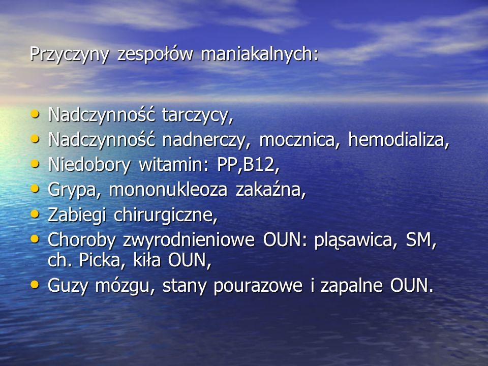 Przyczyny zespołów maniakalnych: Nadczynność tarczycy, Nadczynność tarczycy, Nadczynność nadnerczy, mocznica, hemodializa, Nadczynność nadnerczy, mocznica, hemodializa, Niedobory witamin: PP,B12, Niedobory witamin: PP,B12, Grypa, mononukleoza zakaźna, Grypa, mononukleoza zakaźna, Zabiegi chirurgiczne, Zabiegi chirurgiczne, Choroby zwyrodnieniowe OUN: pląsawica, SM, ch.