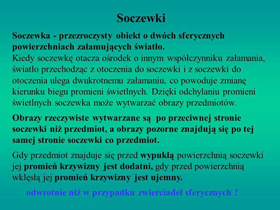 Soczewki Soczewka - przezroczysty obiekt o dwóch sferycznych powierzchniach załamujących światło. Kiedy soczewkę otacza ośrodek o innym współczynniku