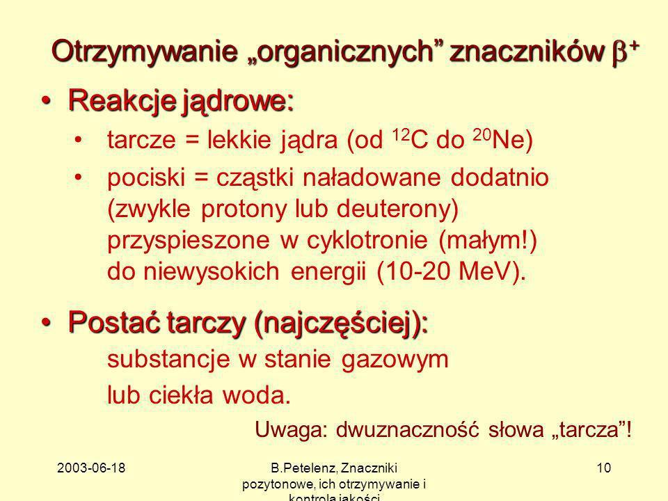 2003-06-18B.Petelenz, Znaczniki pozytonowe, ich otrzymywanie i kontrola jakości 10 Otrzymywanie organicznych znaczników + Reakcje jądrowe: Reakcje jąd