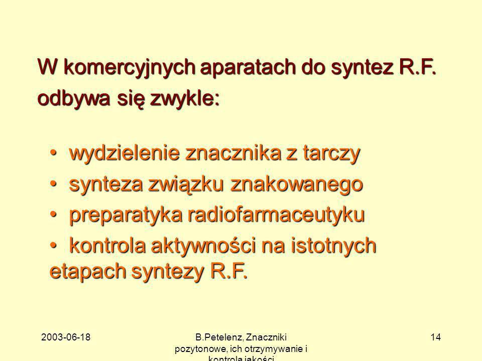 2003-06-18B.Petelenz, Znaczniki pozytonowe, ich otrzymywanie i kontrola jakości 14 W komercyjnych aparatach do syntez R.F. odbywa się zwykle: wydziele