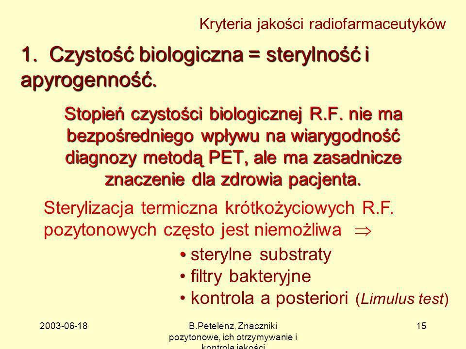 2003-06-18B.Petelenz, Znaczniki pozytonowe, ich otrzymywanie i kontrola jakości 15 Kryteria jakości radiofarmaceutyków 1. Czystość biologiczna = stery