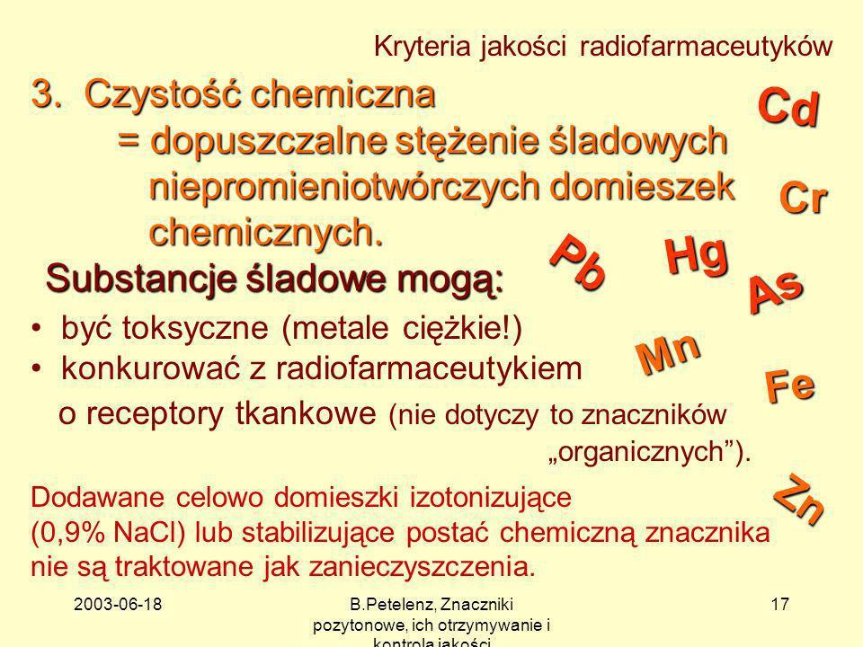 2003-06-18B.Petelenz, Znaczniki pozytonowe, ich otrzymywanie i kontrola jakości 17 Substancje śladowe mogą: Kryteria jakości radiofarmaceutyków Dodawa
