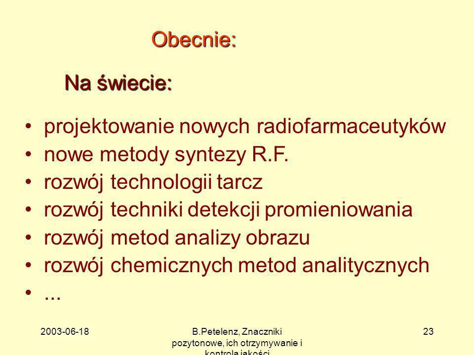 2003-06-18B.Petelenz, Znaczniki pozytonowe, ich otrzymywanie i kontrola jakości 23 Obecnie: Na świecie: projektowanie nowych radiofarmaceutyków nowe m