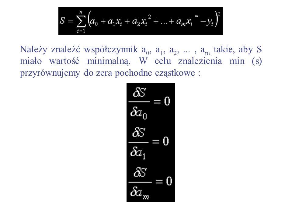 Należy znaleźć współczynnik a 0, a 1, a 2,..., a m takie, aby S miało wartość minimalną. W celu znalezienia min (s) przyrównujemy do zera pochodne czą