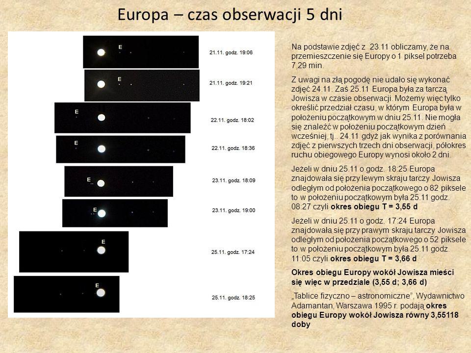 Wnioski Z naszych obliczeń wynika, że okres obiegu wokół Jowisza wynosi: - Io - 1,80 doby - Europa – przedział pomiędzy( 3,55 d; 3,66 d) Możemy więc powiedzieć, że nasze obliczenia były bardzo dokładne porównując wyniki jakie otrzymaliśmy z wynikami Tablice fizyczno – astronomiczne, Wydawnictwo Adamantan.
