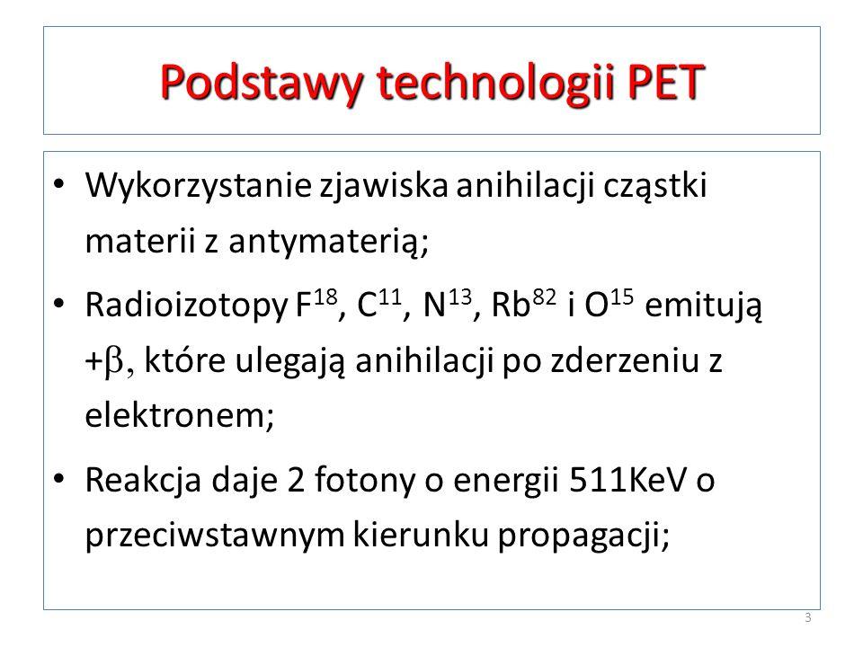 Podstawy technologii PET Wykorzystanie zjawiska anihilacji cząstki materii z antymaterią; Radioizotopy F 18, C 11, N 13, Rb 82 i O 15 emitują + które