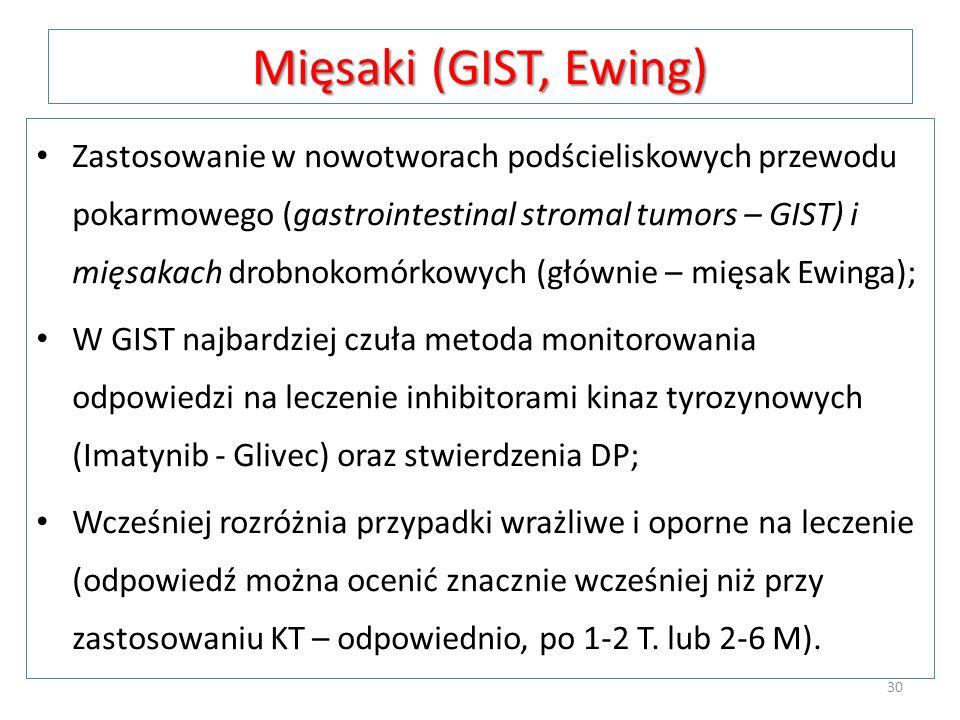Mięsaki (GIST, Ewing) Zastosowanie w nowotworach podścieliskowych przewodu pokarmowego (gastrointestinal stromal tumors – GIST) i mięsakach drobnokomó