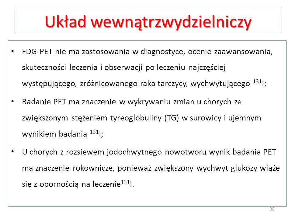 Układ wewnątrzwydzielniczy FDG-PET nie ma zastosowania w diagnostyce, ocenie zaawansowania, skuteczności leczenia i obserwacji po leczeniu najczęściej