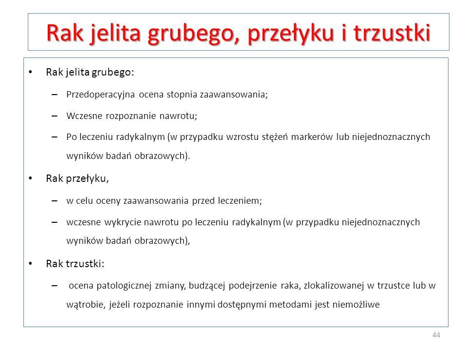 Rak jelita grubego, przełyku i trzustki Rak jelita grubego: – Przedoperacyjna ocena stopnia zaawansowania; – Wczesne rozpoznanie nawrotu; – Po leczeni