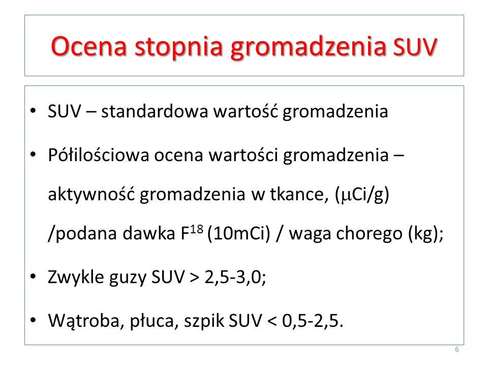 Ocena stopnia gromadzenia SUV SUV – standardowa wartość gromadzenia Półilościowa ocena wartości gromadzenia – aktywność gromadzenia w tkance, ( Ci/g)