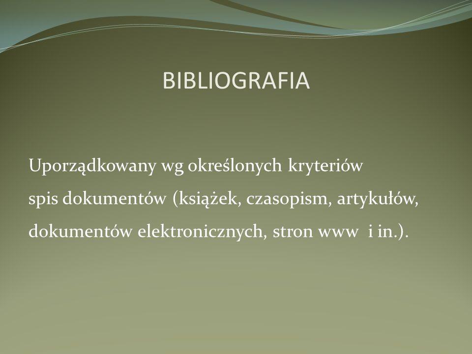 OPIS BIBLIOGRAFICZNY KSIĄŻKI 1.Autor (nazwisko i imię) 2.