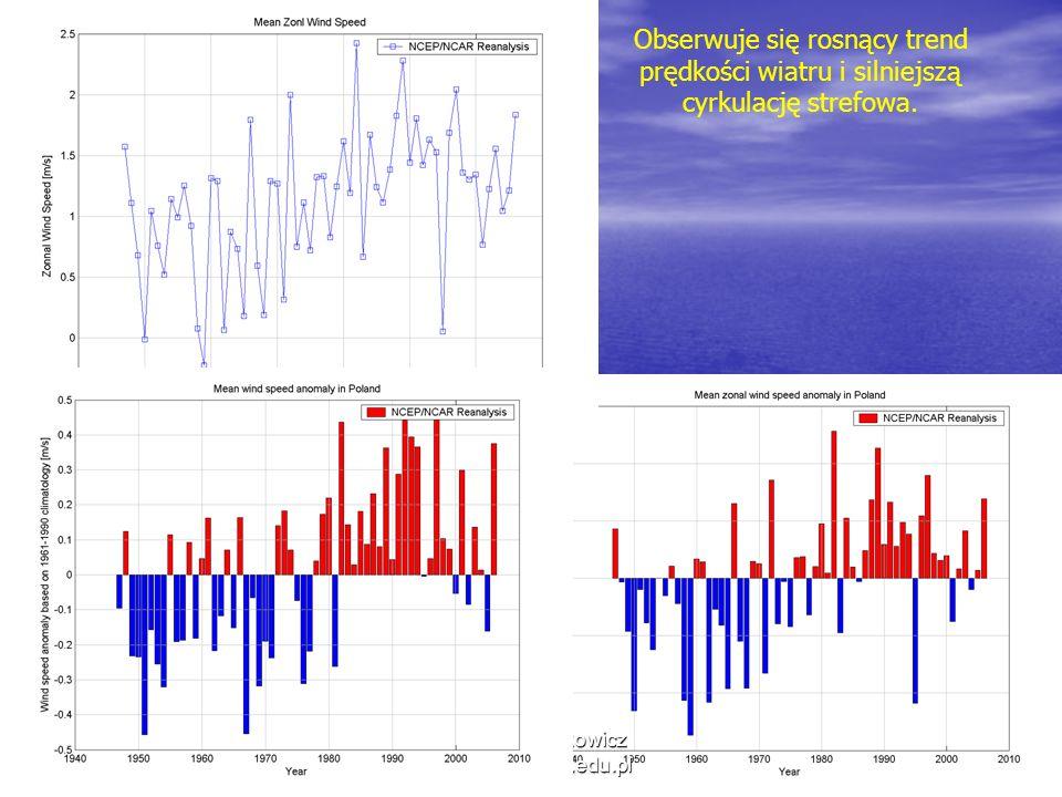 12/20/2013 Krzysztof Markowicz kmark@igf.fuw.edu.pl Obserwuje się rosnący trend prędkości wiatru i silniejszą cyrkulację strefowa.