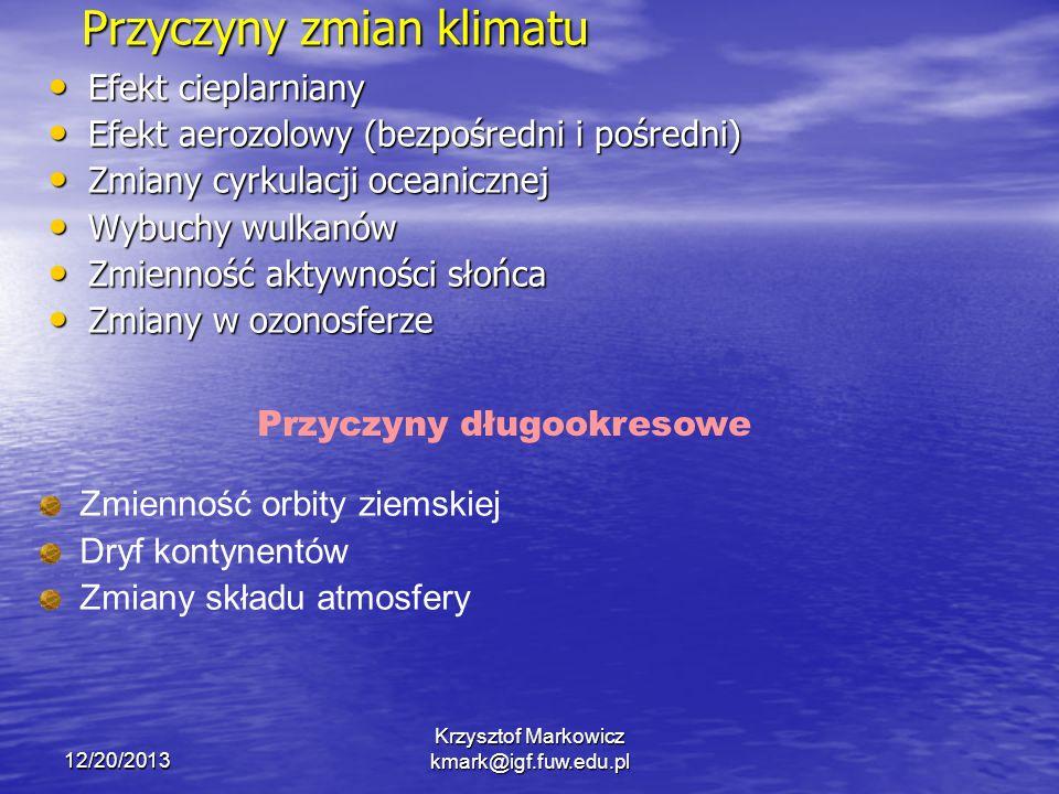 12/20/2013 Krzysztof Markowicz kmark@igf.fuw.edu.pl Przyczyny zmian klimatu Efekt cieplarniany Efekt cieplarniany Efekt aerozolowy (bezpośredni i pośr