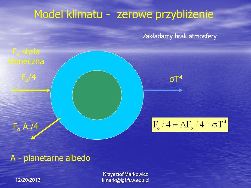 12/20/2013 Krzysztof Markowicz kmark@igf.fuw.edu.pl F o /4 σT4σT4 F o A /4 A - planetarne albedo F o stała słoneczna Model klimatu - zerowe przybliżen