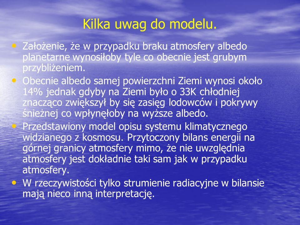 Kilka uwag do modelu. Założenie, że w przypadku braku atmosfery albedo planetarne wynosiłoby tyle co obecnie jest grubym przybliżeniem. Obecnie albedo