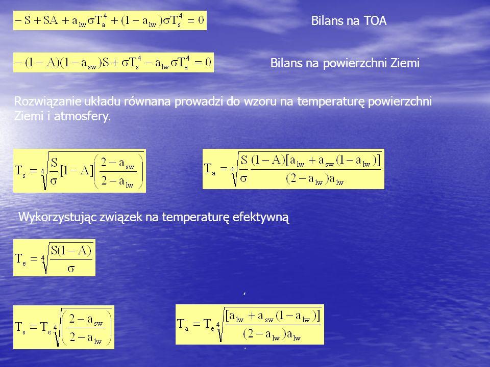 ,. Bilans na TOA Bilans na powierzchni Ziemi Rozwiązanie układu równana prowadzi do wzoru na temperaturę powierzchni Ziemi i atmosfery. Wykorzystując