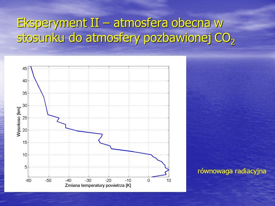 Eksperyment II – atmosfera obecna w stosunku do atmosfery pozbawionej CO 2 równowaga radiacyjna